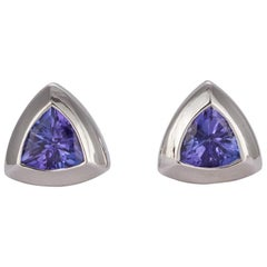 Ladies 18 Karat White Gold and Trillion Cut Tanzanite Stud Earrings 1.92 Carat