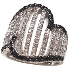 Ladies 18 Karat White Gold Black and White Diamonds Ring