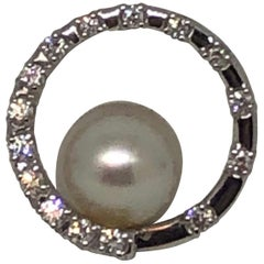 Ladies 18 Karat White Gold Pearl and Diamond Pendant Slide by Tasaki Pearls