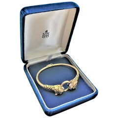 Ladies 18-Karat Yellow Gold Figural Cheetah Cuff Bracelet with Diamond Accents