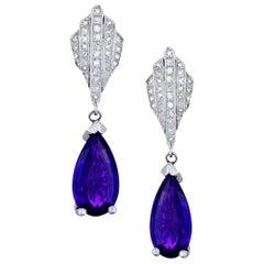 Ladies 7.3 Carat Amethyst and Diamond Earrings