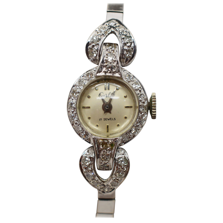 Ladies Antique Carlto White Gold Diamond Bracelet Wristwatch