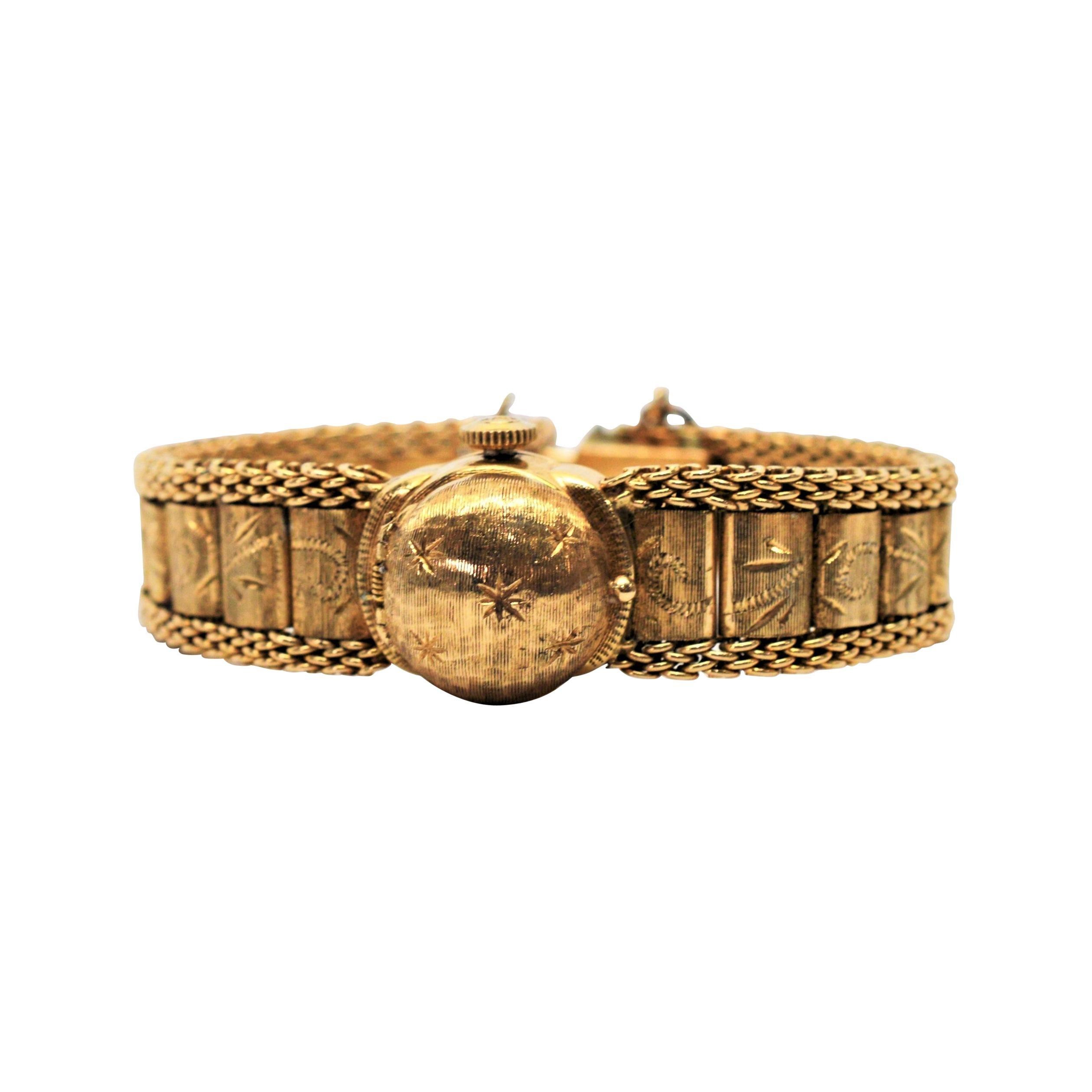 Ladies Antique Engraved Yellow Gold Swiss Watch Bracelet