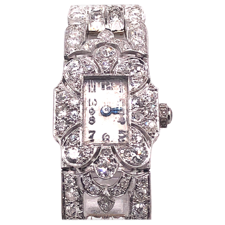 Ladies Art Deco Diamond Platinum Cocktail Wristwatch