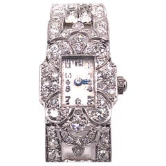 Ladies Art Deco Diamond Platinum Cocktail Wristwatch