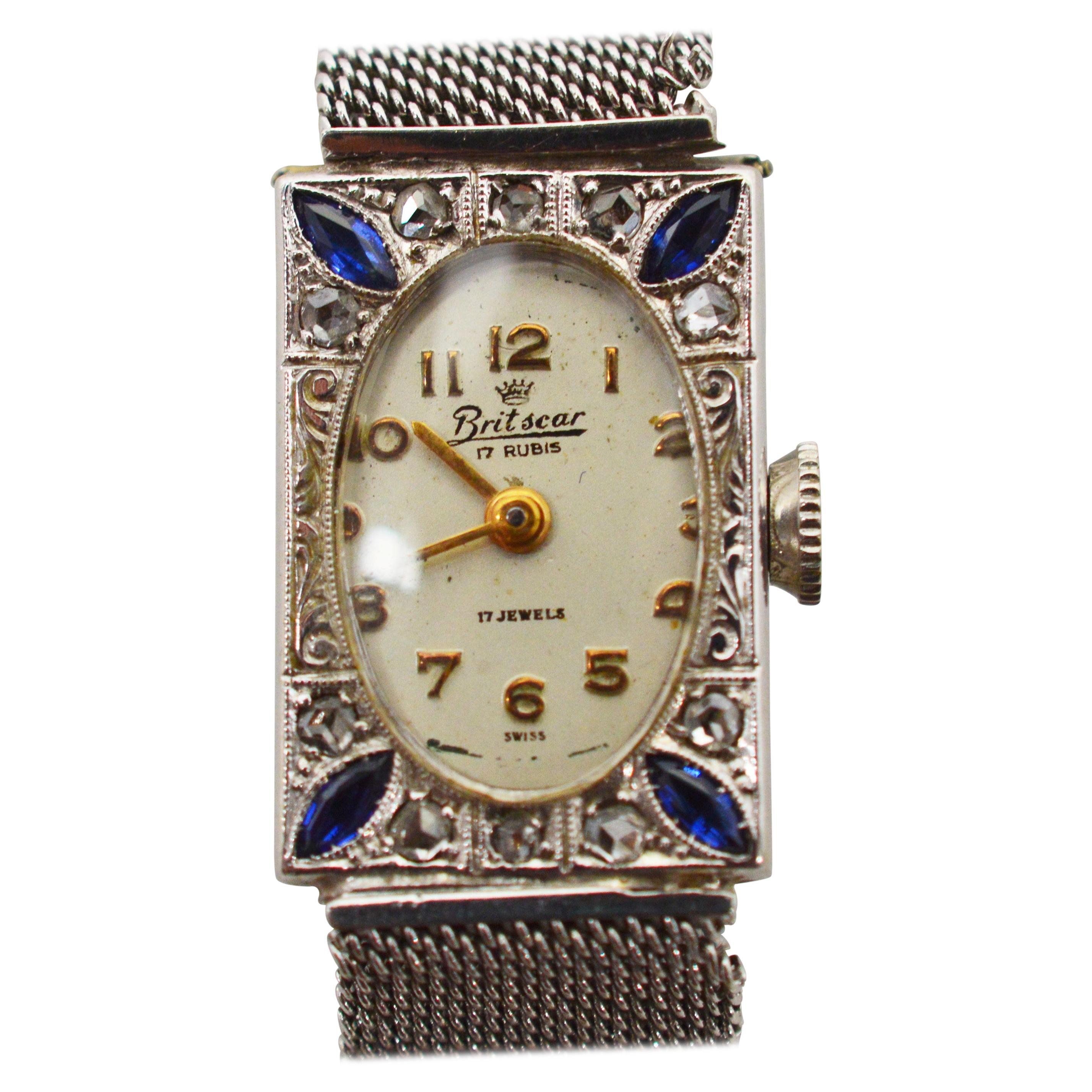 Ladies Art Deco Diamond Sapphire White Gold Wristwatch