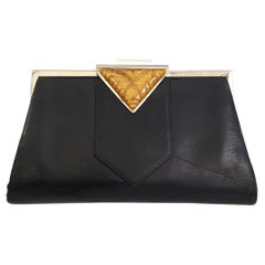 Ladies Art Deco Leather and Lucite Handbag Purse, circa 1930s