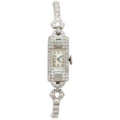 Ladies Art Deco Platinum Diamond Manual Wind Cocktail Wristwatch