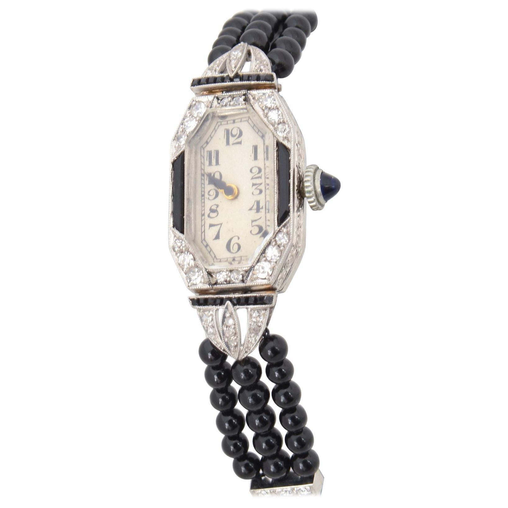 Ladies Art Deco Platinum Diamond Onyx Wrist Watch