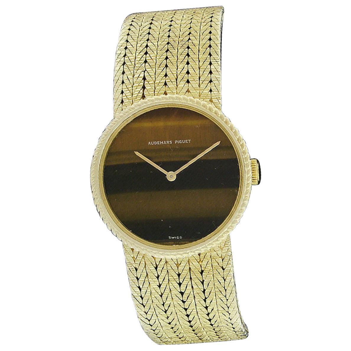 Ladies' Audemars Piguet 18 Karat Gold Tiger's Eye and Mesh Bracelet Wristwatch