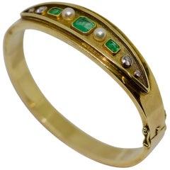Ladies Bangle, 14 Karat Gold, with Emeralds, Diamonds and Pearls