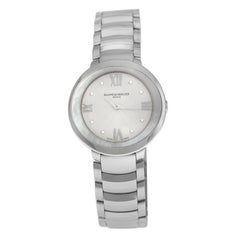 Ladies Baume & Mercier Promesse 10158 Steel Mother of Pearl Diamond Quartz Watch