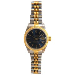 Ladies Blue Rolex Watch Two-Toned Datejust Jubilee 18 Karat Steel Working