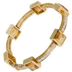 Ladies Bracelet, Bangle in 18 Karat Gold, Set with Citrines and 41 Diamonds