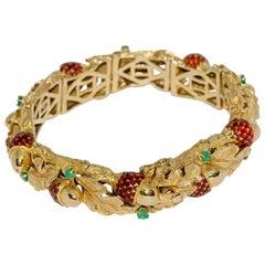 Ladies Bracelet, Bangle in 18 Karat Gold, with Enamel Acorns and Emeralds