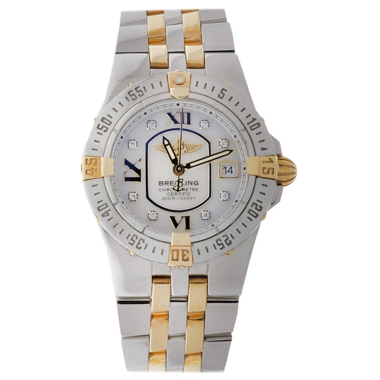 Ladies Breitling Mother of Pearl Diamond Dial Steel and 18 Karat Pilot Bracelet For Sale