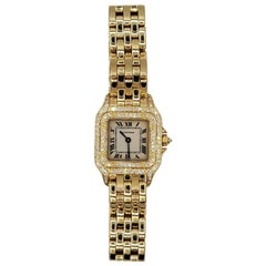 Ladies Cartier 18 Karat Gold Watch, 1280 Panthere Champagne, Diamonds CC131253
