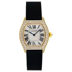 Ladies Cartier 18 Karat Yellow Gold Diamond Tortue Watch WA503751