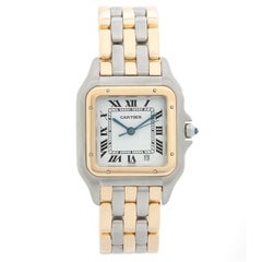 Ladies Cartier 3-Row Panther 2-Tone Steel and Gold Watch
