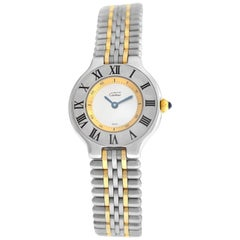 Ladies Cartier Must de Cartier 1340 Quartz Steel Gold Bullet Watch