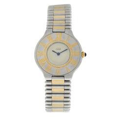 Ladies Cartier Must de Cartier 21 Stainless Steel Gold Bullet Quartz Watch