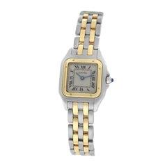 Ladies Cartier Panthere 112000R Steel 18 Karat Yellow Gold Two-Row Quartz Watch