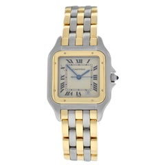 Ladies Cartier Panthere Quartz Steel 18 Karat Gold Three-Row Date Watch