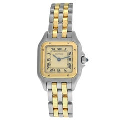 Ladies Cartier Panthere Steel 18 Karat Yellow Gold Two-Row Quartz Watch