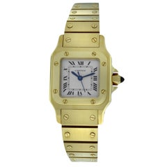 Ladies Cartier Santos 18 Karat Yellow Gold Automatic Watch Diamonds