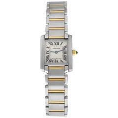 Ladies Cartier Tank Francaise 2300 Steel 18 Karat Yellow Gold Quartz Watch