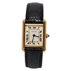 Ladies Cartier Yellow Gold Tank Wrist Watch