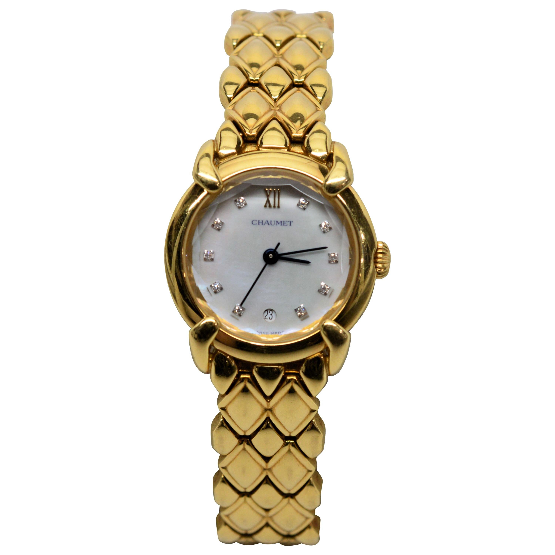 Ladies Chaumet Paris Elysses 18 Karat Yellow Gold and Diamond Bracelet Watch