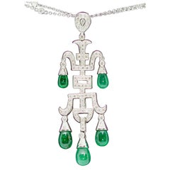 Ladies Diamond and Emerald Pendant, Necklace Enhancer, 18 Karat White Gold