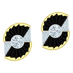 Ladies Diamond and Onyx Yellow and White Gold Earrings