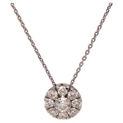 Ladies Diamond Cluster Pendant Necklace
