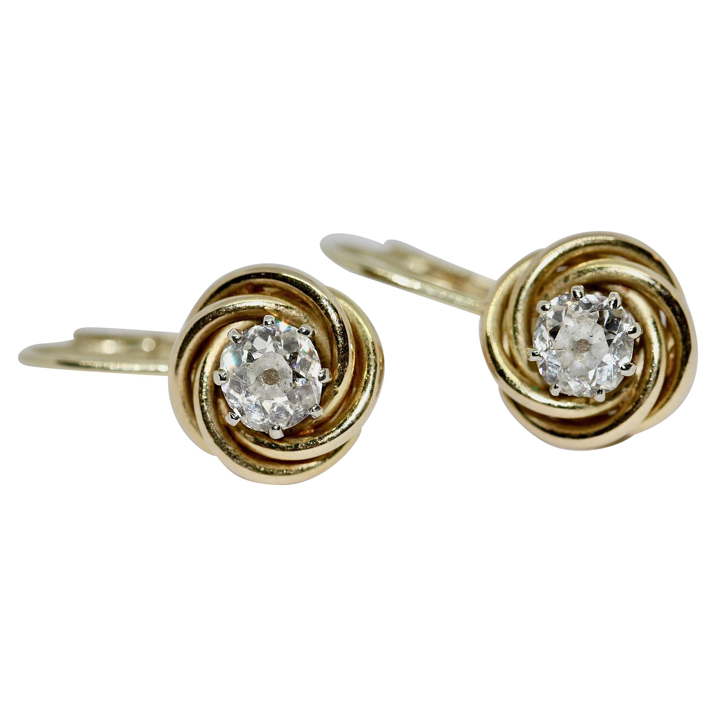 Ladies Diamond Stud, Dangle Earrings, 14 Karat Gold