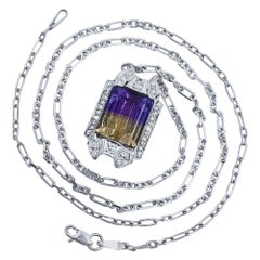 Ladies Diamond Watch Conversion Necklace with Ametrine in White Gold circa 1930s