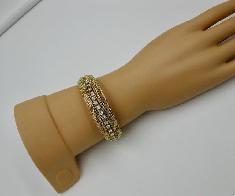 Ladies Diamond Yellow Gold Wristwatch Bracelet Mid-Century Modern Madmen, 1960s For Sale 5