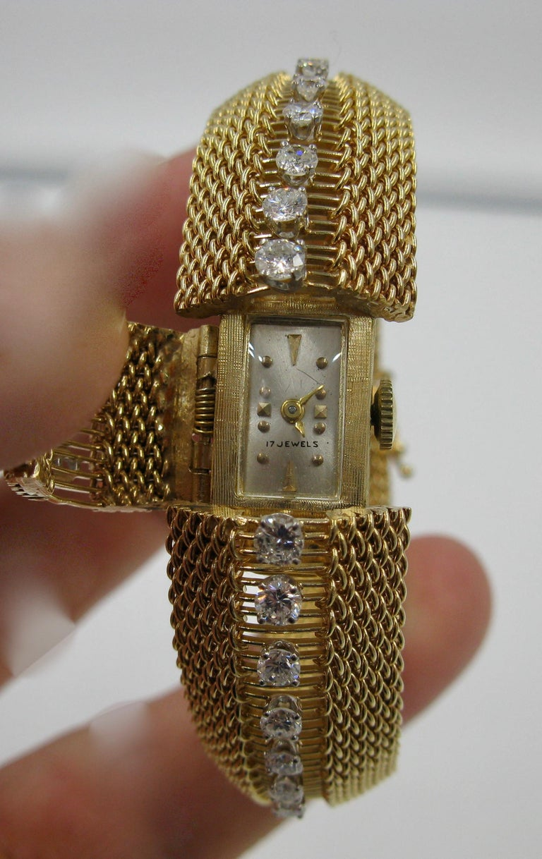 Round Cut Ladies Diamond Yellow Gold Wristwatch Bracelet Mid-Century Modern Madmen, 1960s For Sale