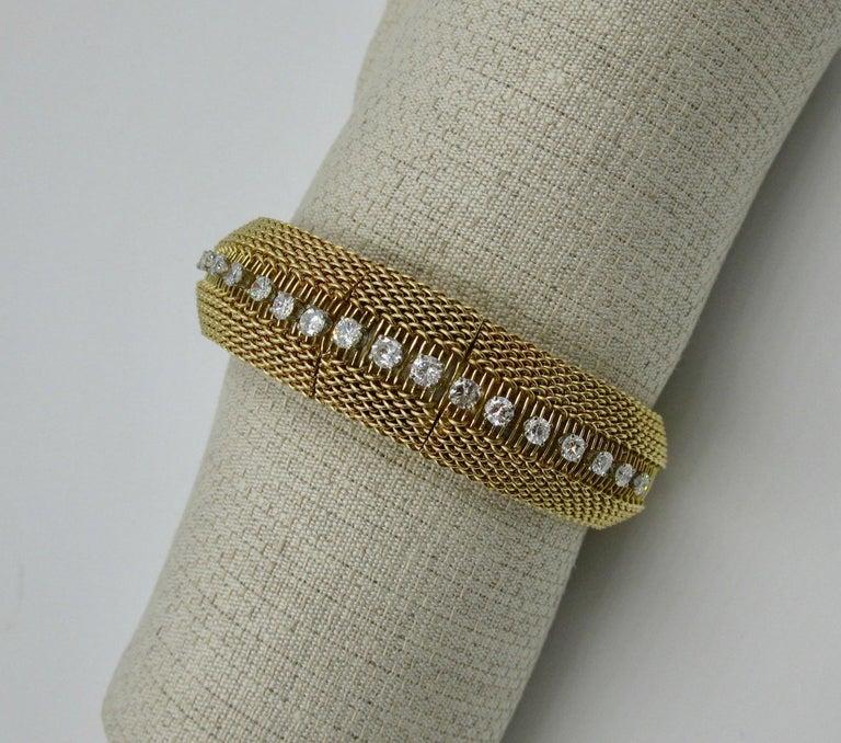 Women's Ladies Diamond Yellow Gold Wristwatch Bracelet Mid-Century Modern Madmen, 1960s For Sale