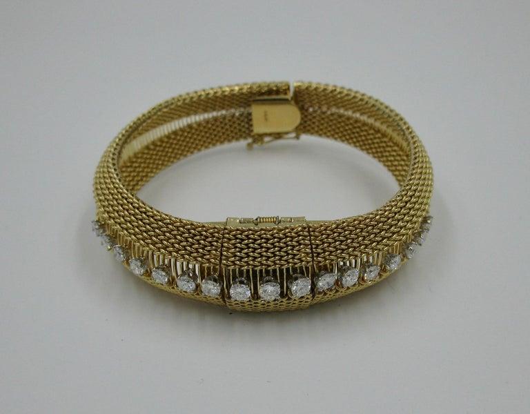 Ladies Diamond Yellow Gold Wristwatch Bracelet Mid-Century Modern Madmen, 1960s For Sale 1