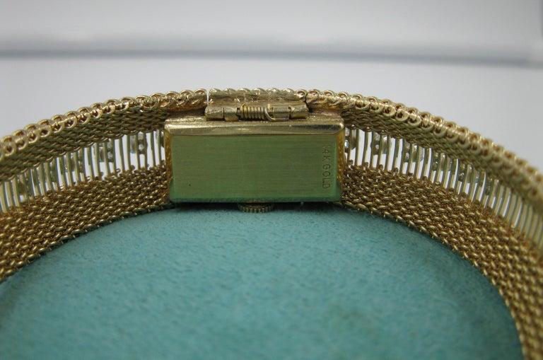 Ladies Diamond Yellow Gold Wristwatch Bracelet Mid-Century Modern Madmen, 1960s For Sale 3