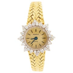 Ladies Dress Watch, Geneve Quartz 1.50 Carat Diamond Dial and Gold Textured Band