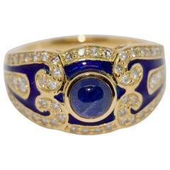 Ladies Enamel Ring, 18 Karat Gold with Blue Sapphire and Diamonds