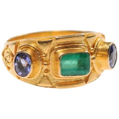 Ladies Etruscan Style 22-Karat Gold Ring with Emerald and Sapphires