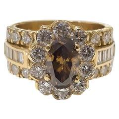 Ladies Fancy Deep Brown Oval Diamond Halo Wide Ring 1.18 Carat 18 Karat Gold