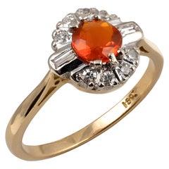 Ladies Fire Opal Diamond Halo Baguette Cut 18 Karat Gold Ring