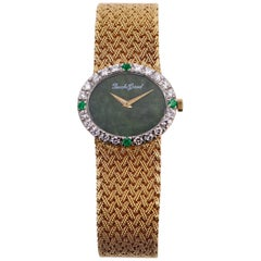 Ladies Gold Beuche Girod Watch with Diamond and Emerald Bezel and Jade Dial