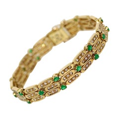 Ladies Gold Bracelet, 18 Karat Gold, Set with Diamonds and Emeralds