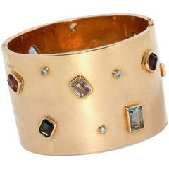 Ladies Gold Designer Bangle, Bracelet, Set with Diamonds and Multi Gem Stones